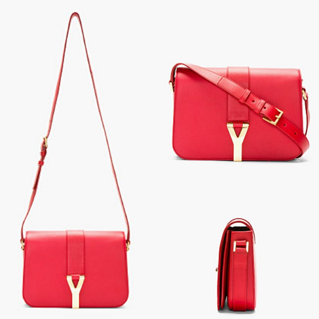Saint Laurent Red Leather Foldover