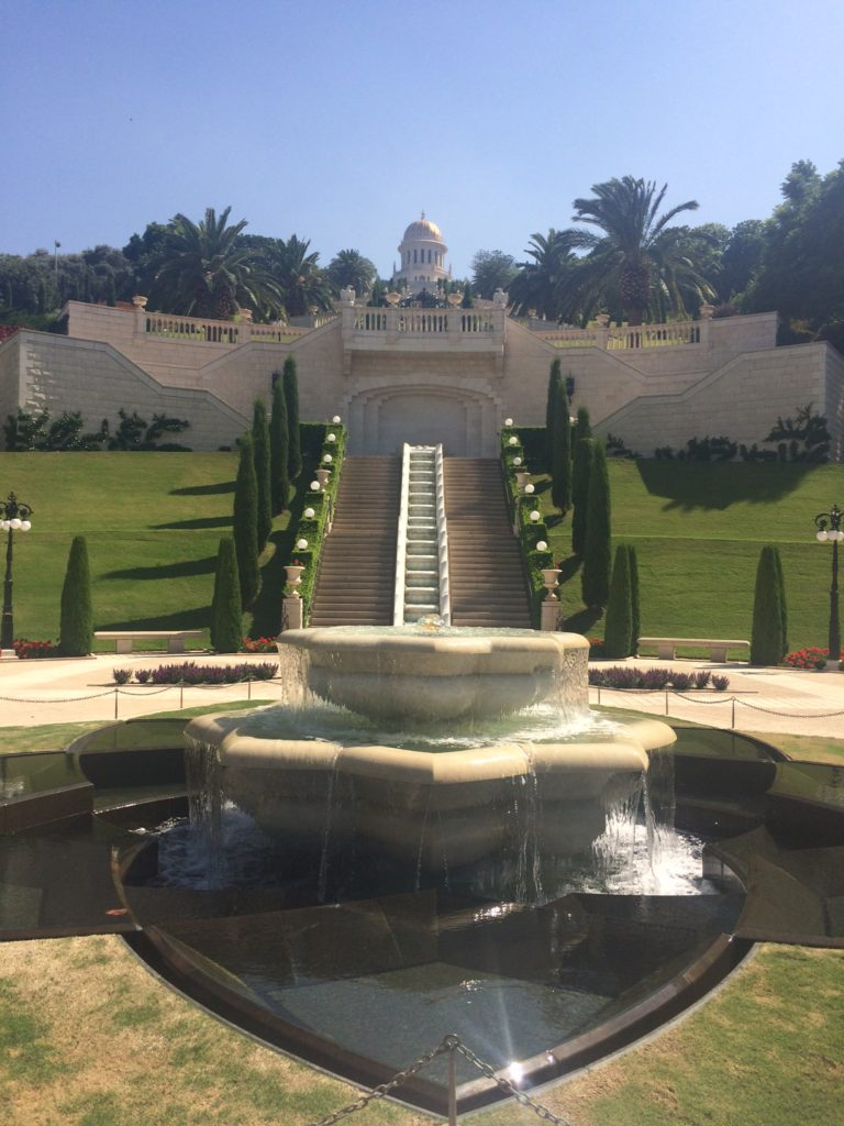 Haifa Baha'i Gardens, nature, garden, blue sky and water