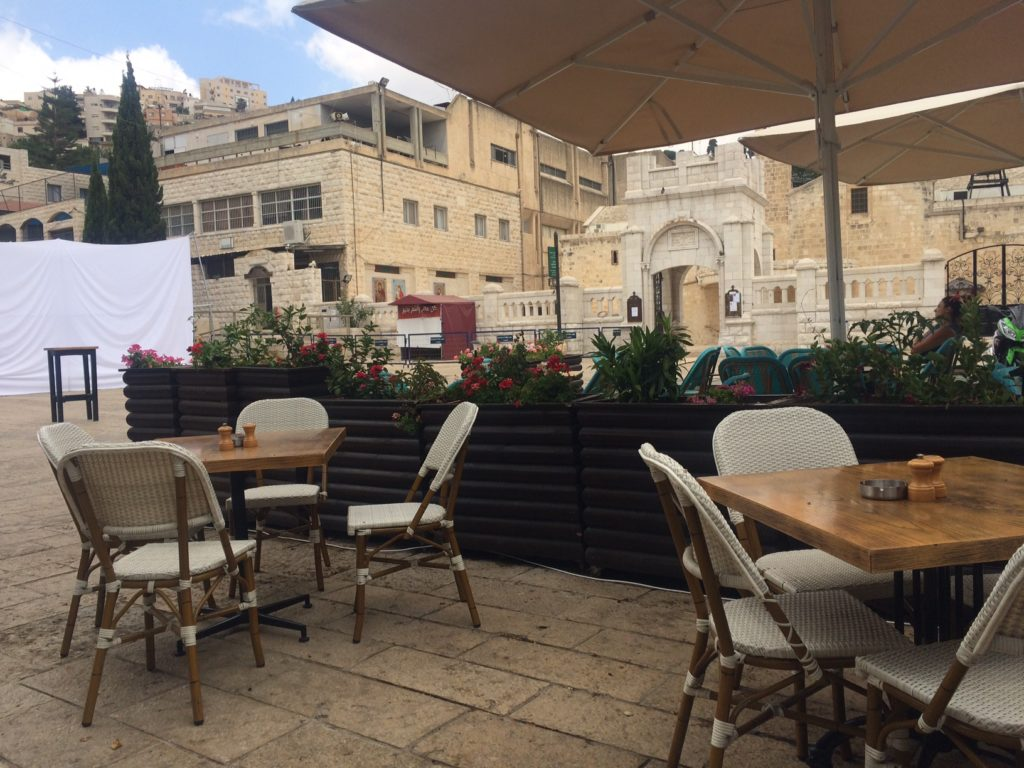 Nazareth St Gabriel Church, terrace and chairs