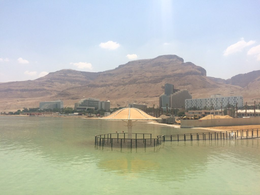 Ein Bokek Dead Sea, blue sky and montains