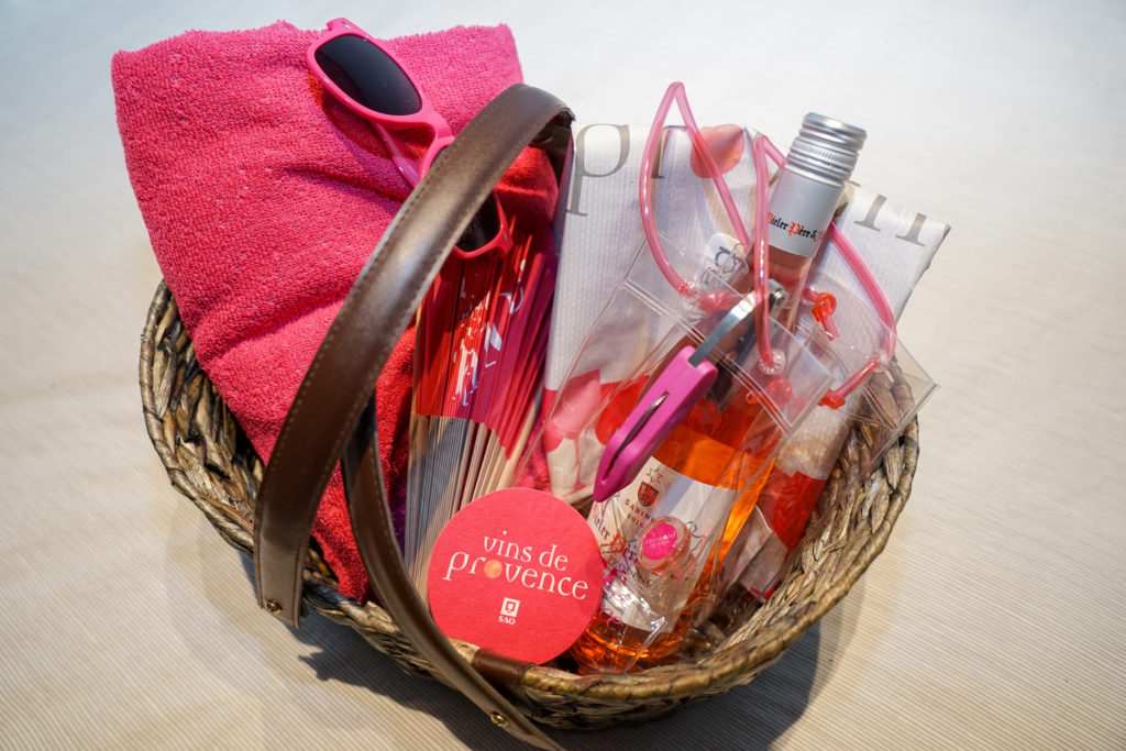 picnic basket with bottle of rosé