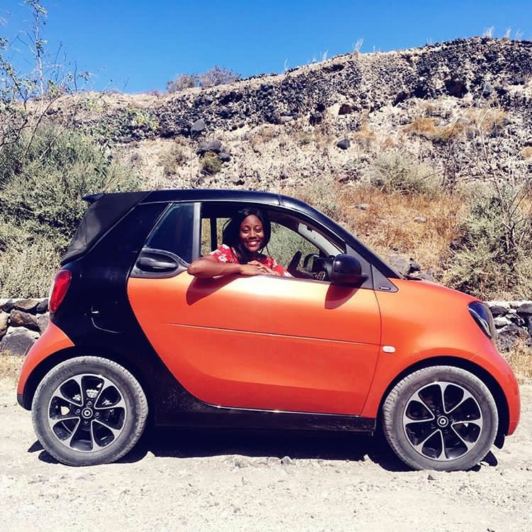 Smart Car Cabrio in the valley in Santorini Island