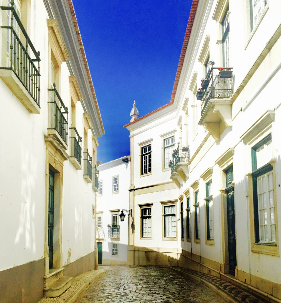 Street of Faro and blue sky