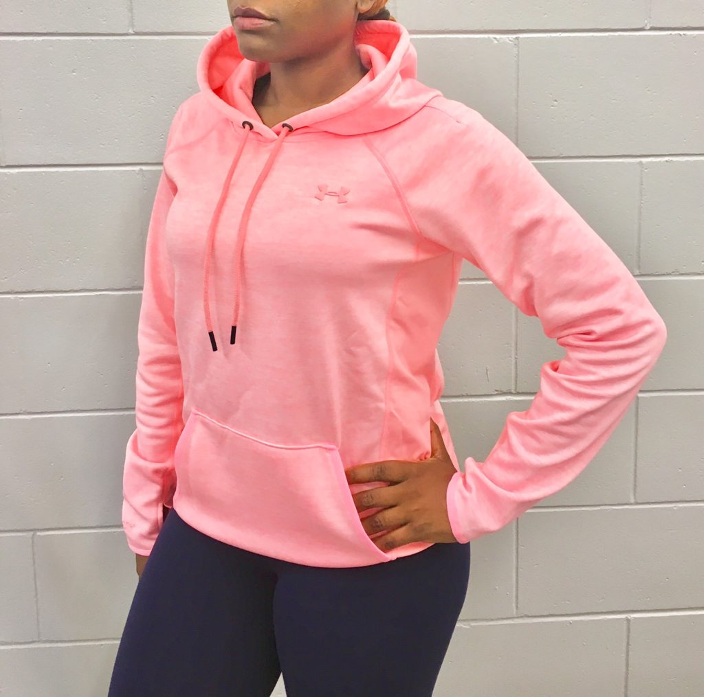 one person wearing a pink hoodie