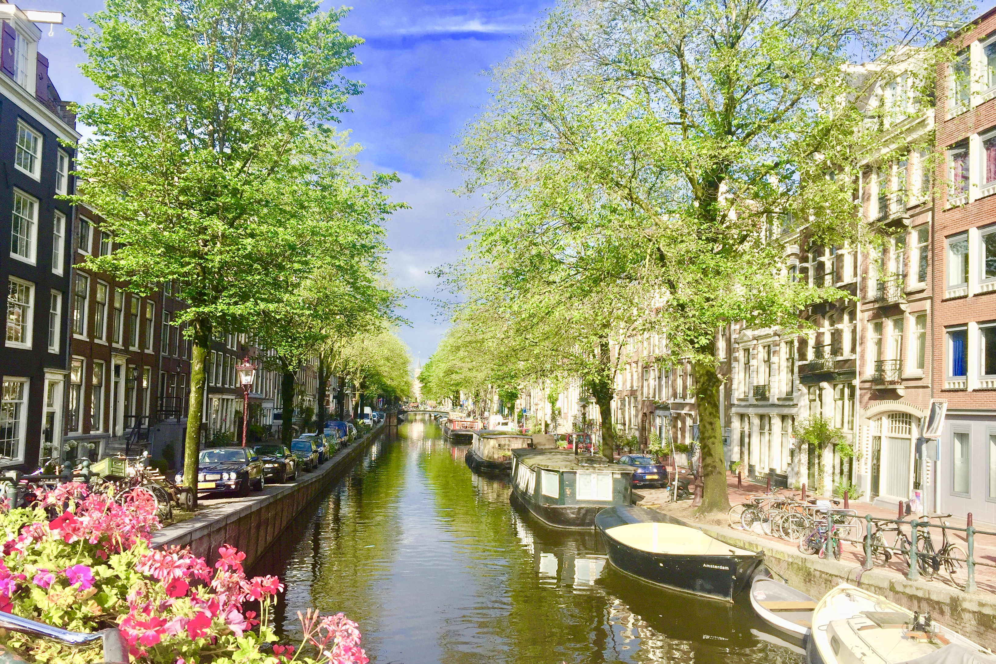 Canal, boats and house in Amsterdam