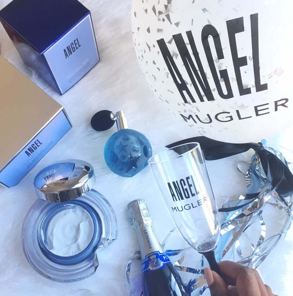 perfume, body cream, balloon and champagne Mugler