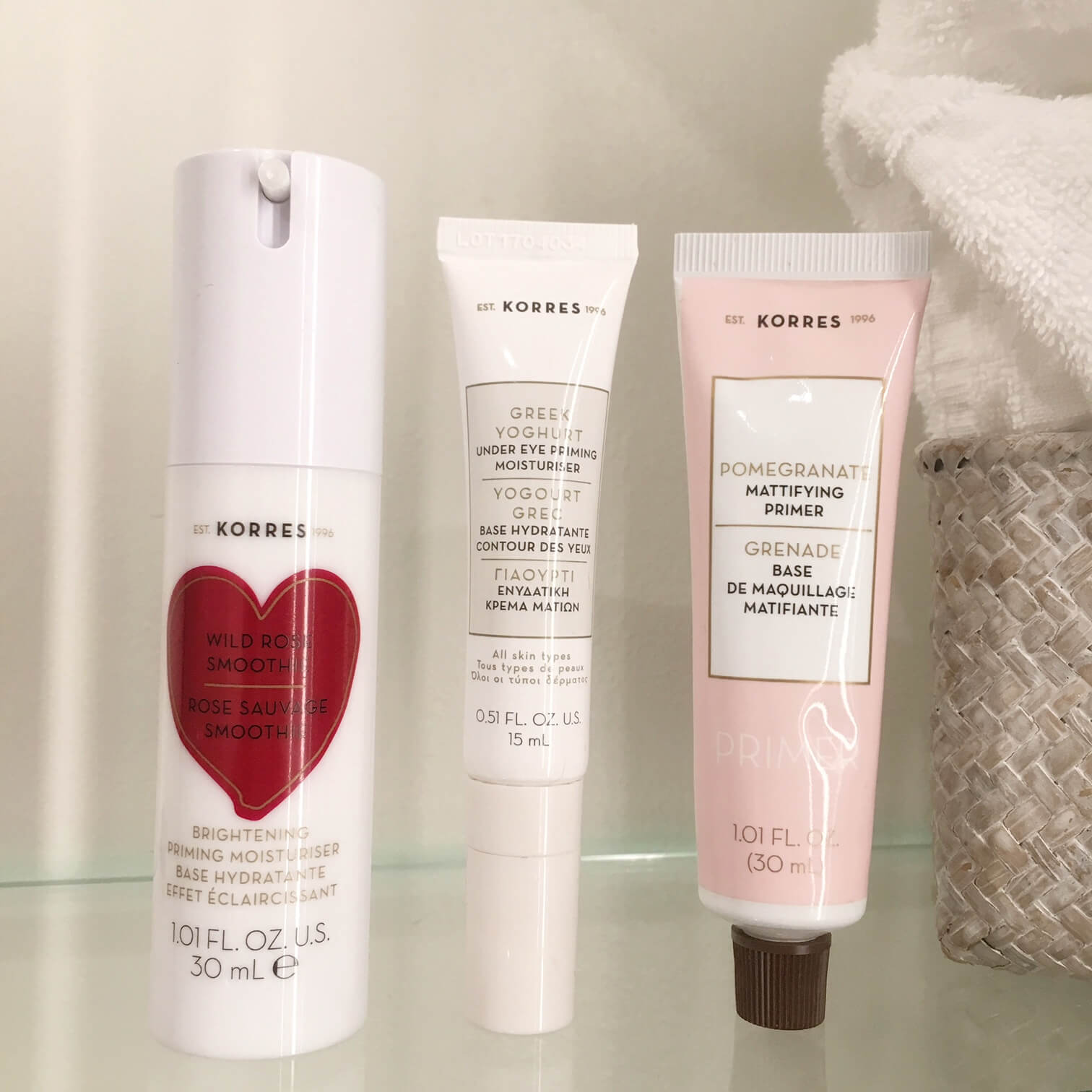3 beauty products in a bathroom